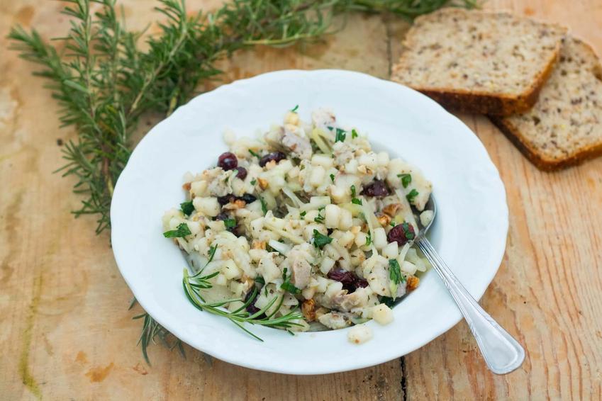 Śledzie z żurawiną na talerzu na stole, a także przepis, przygotowanie i porady kulinarne dla początkujących