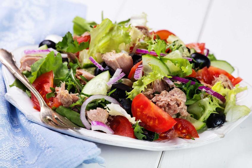 Porcja sałatki z tuńczykiem, idealna na dietę trzustkową, czyli dieta na zdrową trzustkę, jej wpływ na organizm oraz opis zasad