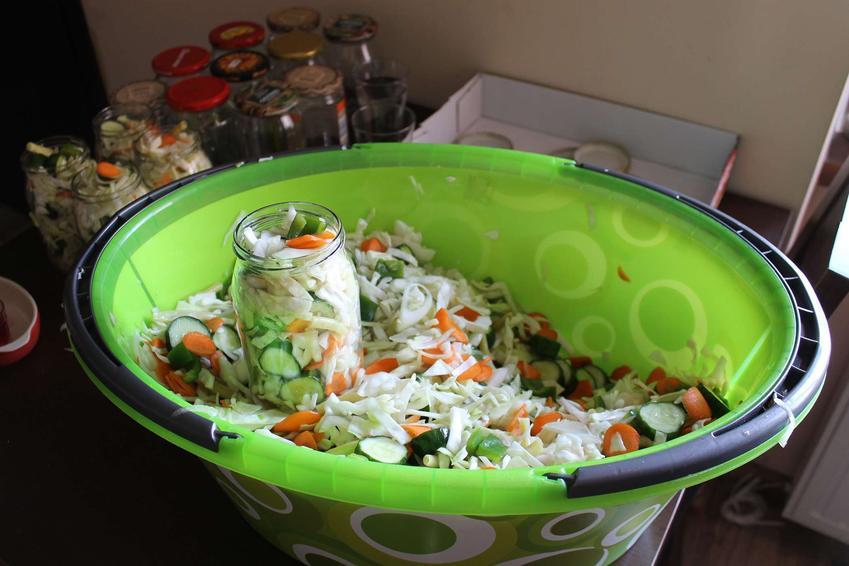 Zielona, plastikowa miska z sałatką wielowarzywną, w której stoi słoik wypełniony warzywami. Za miską znajduje się więcej słoików, zarówno napełnionych warzywami, jak i pustych.