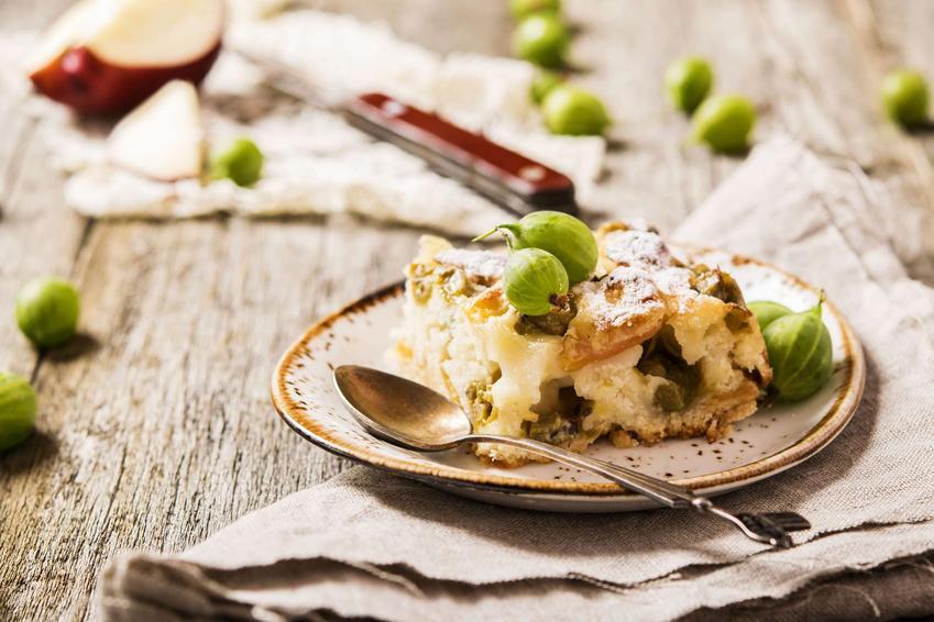 Ciasto z agrestem podane na dekoracyjnym talerzyku.