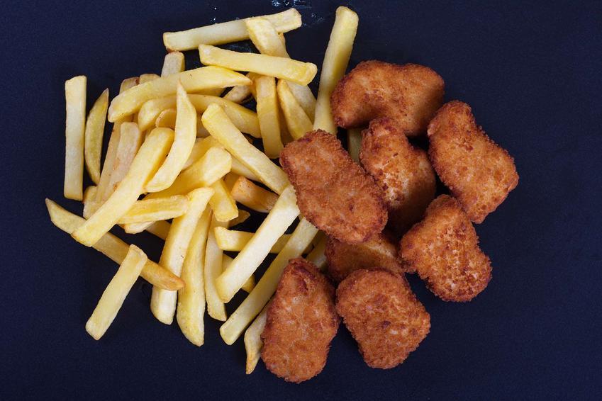 Polędwiczki z kurczaka w chrupiącej panierce z frytkami i mizerią