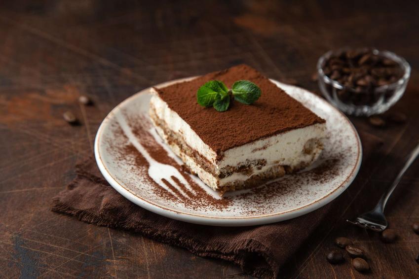 Kawałek ciasta tiramisu, posypany mieloną kawą, udekorowany listkiem mięty.