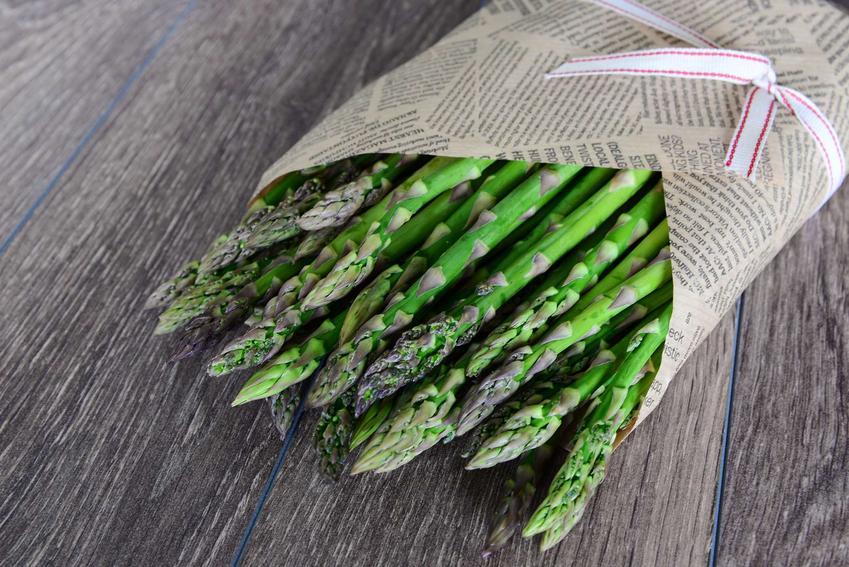 zielone, gotowane szparagi